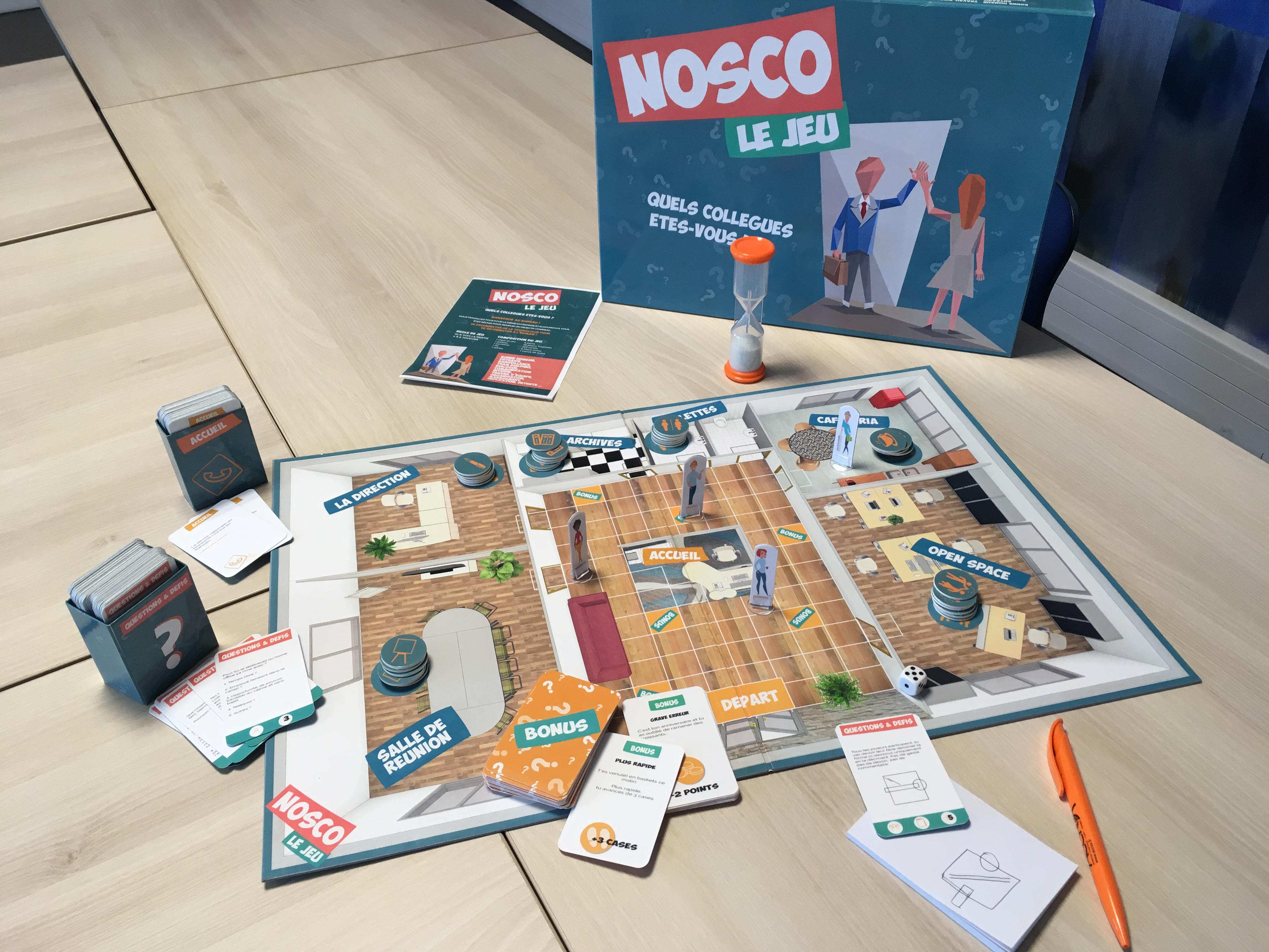 NOSCO, jeu de société créé par ACCIOR - le plateau de jeu   cabinet comptable aux Sables d'Olonne et à La Roche sur Yon